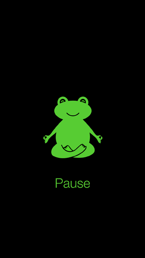 """Meditating frog with word """"Pause"""""""
